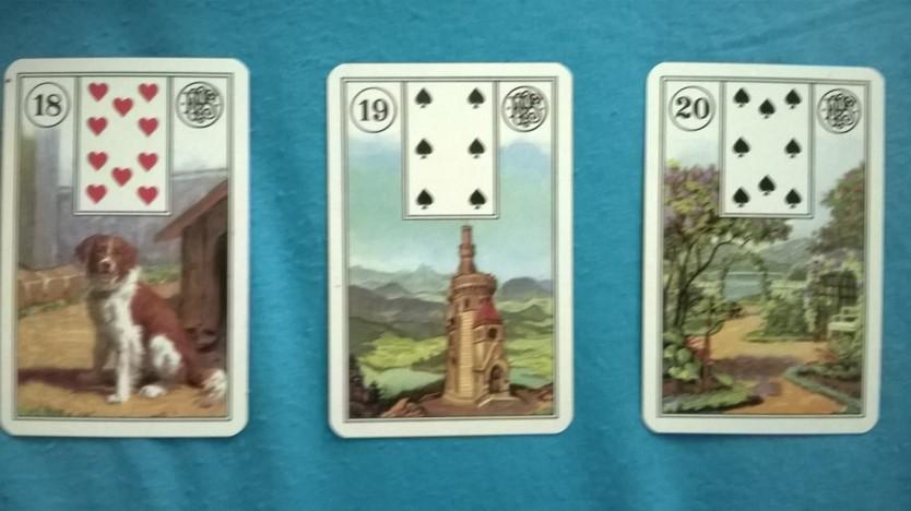 קלפים צועניים לנורמנד בתמונה כלב,מגדל,גן.